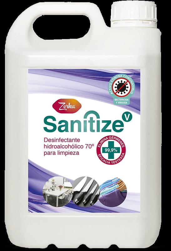 ZORKA SANITIZE V , Desinfectante Hidroalcohólico 70º para limpieza